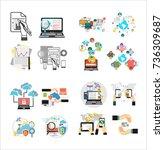 flat design business analysis... | Shutterstock .eps vector #736309687