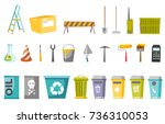 construction tools and waste... | Shutterstock .eps vector #736310053