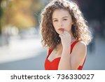 woman portrait outdoor. cute... | Shutterstock . vector #736330027