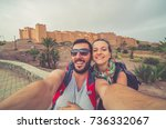 tourism in morocco  happy... | Shutterstock . vector #736332067