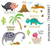 cute vector dinosaurs isolated... | Shutterstock .eps vector #736338817