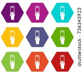 hand photographs on smartphone...   Shutterstock .eps vector #736343923