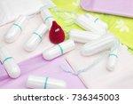 crochet funny blood drop ... | Shutterstock . vector #736345003