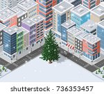christmas winter city... | Shutterstock .eps vector #736353457