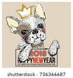 cute dog illustration with... | Shutterstock .eps vector #736366687