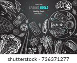 spring rolls and ingredients... | Shutterstock .eps vector #736371277