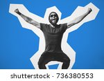 crazy hipster guy emotions.... | Shutterstock . vector #736380553