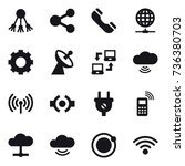 16 vector icon set   share ... | Shutterstock .eps vector #736380703