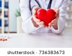 doctor cardiologist with red...   Shutterstock . vector #736383673