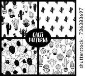 black and white set of seamless ...   Shutterstock .eps vector #736383697