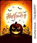 halloween background with... | Shutterstock . vector #736383997