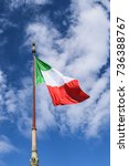 italian flag floats in the wind | Shutterstock . vector #736388767