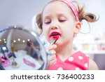 little girl fashion monger... | Shutterstock . vector #736400233
