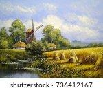 windmill  village landscape.... | Shutterstock . vector #736412167