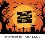 happy halloween party.... | Shutterstock .eps vector #736413277
