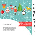merry christmas card or... | Shutterstock .eps vector #736416913
