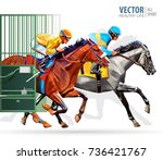 three racing horses competing... | Shutterstock .eps vector #736421767