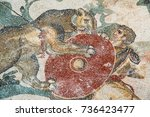 mosaic of a hunt scene in the... | Shutterstock . vector #736423477