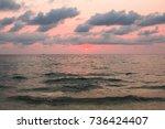 leaden sunset in cloudly sky...   Shutterstock . vector #736424407