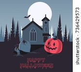 vector night at the cemetery ...   Shutterstock .eps vector #736429573