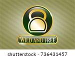 shiny emblem with kettlebell... | Shutterstock .eps vector #736431457