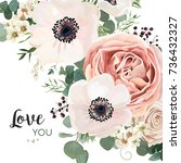 vector floral card design ... | Shutterstock .eps vector #736432327