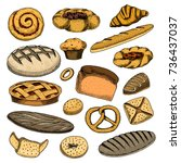 bread and pastry donut belgian... | Shutterstock .eps vector #736437037