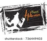 halloween grunge background ...   Shutterstock .eps vector #736449403