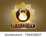 gold shiny emblem with... | Shutterstock .eps vector #736456837