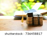 hat graduation on money for... | Shutterstock . vector #736458817