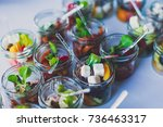 beautifully decorated catering... | Shutterstock . vector #736463317