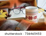 open book  a cup of tea and a... | Shutterstock . vector #736465453