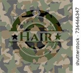 hair on camouflage pattern | Shutterstock .eps vector #736466347