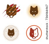 wolf head with claw marks logo... | Shutterstock .eps vector #736466467