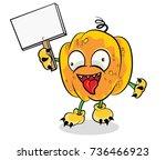 halloween pumpkin vector on... | Shutterstock .eps vector #736466923