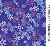 seamless pattern. snowflakes... | Shutterstock .eps vector #736482793