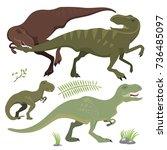 scary dinosaurs vector... | Shutterstock .eps vector #736485097