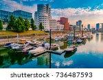 looking at media harbor at... | Shutterstock . vector #736487593