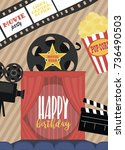 birthday party invitation for... | Shutterstock .eps vector #736490503