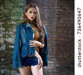 sexy girl big boobs   nude on... | Shutterstock . vector #736490647