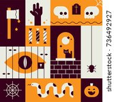 halloween posters with square... | Shutterstock .eps vector #736492927