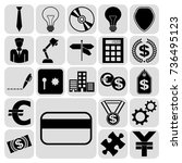 set of 22 business icons  high... | Shutterstock .eps vector #736495123