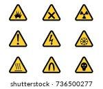 set of triangular warning... | Shutterstock . vector #736500277
