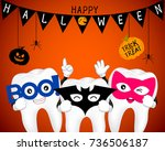 tooth character with mask of... | Shutterstock .eps vector #736506187
