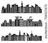 city skyline silhouette set | Shutterstock .eps vector #736527673