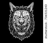 wolf blackwork tattoo flash...   Shutterstock .eps vector #736531243