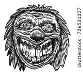 scary cartoon clown... | Shutterstock .eps vector #736531327