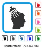 head shower icon. flat gray...