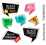 set of discount sticker and...   Shutterstock .eps vector #736580443