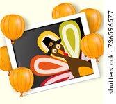happy thanksgiving day... | Shutterstock .eps vector #736596577